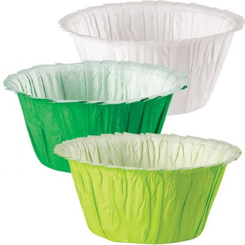 Assorted Green and White Ruffle Baking Cups